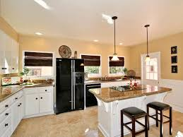 interior remodeling small kitchen into eat design island pendant lights above red painted wood bar stools