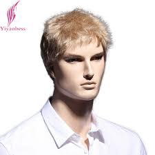 Yiyaobess 6 Inch Straight Blonde Korte Pruik Natuurlijke Haar Mannen