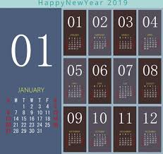 2019 Calendar Template Modern Design Free Vector In Adobe