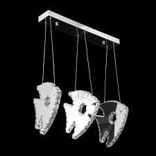 3 light crystal fish shaped led pendant lighting fixtures
