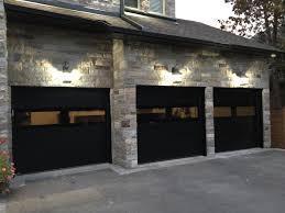 modern black exterior glass garage door vaughan