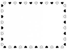 白黒ハートのバレンタイン囲みフレーム飾り枠イラスト 無料イラスト