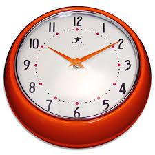 Retro Kitchen Wall Clocks Orange Fifties Style Kitchen Wall Clock Infinity Wall Clocks
