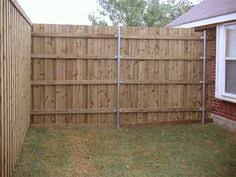 chain link fence post installation. Wood Fence Panels Installed On Round Galvanized Posts. Special To Steel Post Brackets Are Available In A Variety Of Sizes And Type Accomodate Chain Link Installation