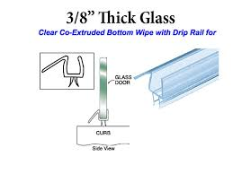 co extruded bottom sweep with drip rail for 3 8 inch glass clear frameless shower door bottom seal