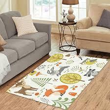 interestprint home decor forest animal green area rug carpet 5 x 3 3 fox deer tree modern carpet floor mat rugs for children kid living room bedroom