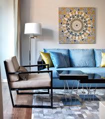 Living Room:Elegant Blue Living Room Design Idea With Hanging Lamp Plush  Blue Sofa In
