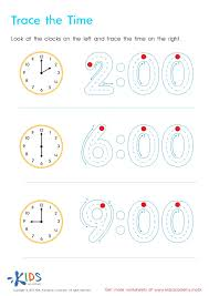 Trace the time - Kindergarten Math Worksheets