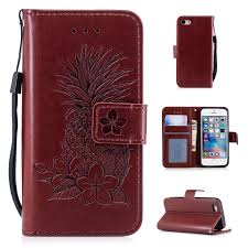 iphone 5 case iphone 5s case iphone se case allytech pu leather pineapple embossed anti scratch drop protection cards slots wallet case silicone back