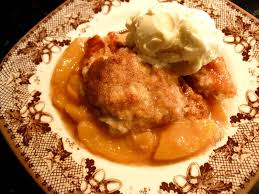 southern peach cobbler with ice cream. Southern Peach Cobbler On With Ice Cream