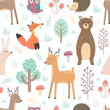 Forest seamless pattern with cute animals - fox, <b>deer</b>, <b>bear</b>, <b>rabbit</b> ...