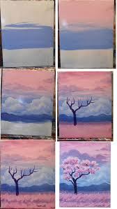 field of pink painting idea flowering pink tree step by step