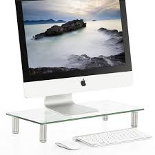 fitueyes clear computer monitor riser shelf with saving space desktop stand