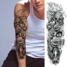 водонепроницаемый временные татуировки стикеры череп розы и креста молиться