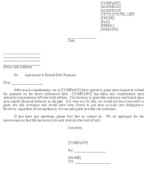 Sample Agreement To Pay Debt Sample Letter For Agreement To Extend Debt Payment Template