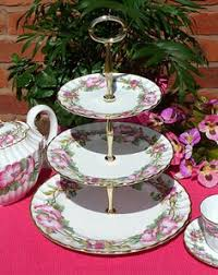 Tea Set Display Stand For Sale WHITE CHINA ROSE BUD RIBBON CAKE STAND Cake Stands Pinterest 12