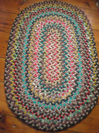 vintage oval hand braided rag rug hand braided wool rugs for