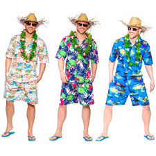 hawaiian summer party guy palm tree fancy dress costume mens straw hat