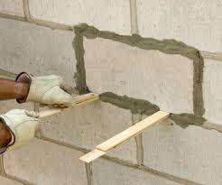 cinder block wall repair. Contemporary Cinder Step 4 Center And Strike To Cinder Block Wall Repair H