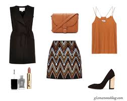 office wardrobe ideas. Sleeveless-Vest-Print-Mini-Skirt-Block-Heels-Office- Office Wardrobe Ideas U