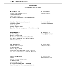 Professional References On Resume Resume Professional References Write Reference List Resume 6