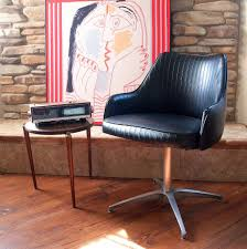 mid century swivel chair. 60s Mod MID CENTURY MODERN Chair Chromcraft Black Faux Leather Side, Desk, Accent, Mid Century Swivel