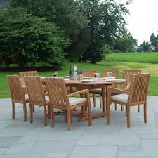 classic teak garden furniture dining set eight seat oval teak table stacking chairs