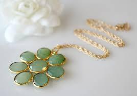 large chrysoprase daisy style necklace statement necklace green brazilian chrysoprase gemstone flower pendant gold vermeil bygerene