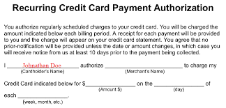 Automatic Withdrawal Form Template Free Recurring Credit Card Authorization Form Word Pdf