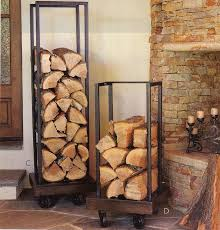 wisteria log holder use plumbing pipe to create wood storage next to the fireplace