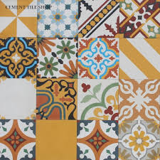 yellow cement tile patchwork yellow
