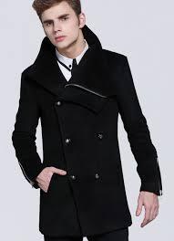new cashmere wool blend zipper new black pea coat