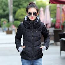 2018 women winter coats plus size outerwear solid hooded coats short female slim cotton
