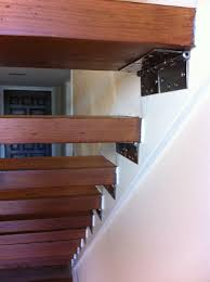 Extraordinary Teak Wooden Floating Stairs with Metal Brackets Stairs Attach  on