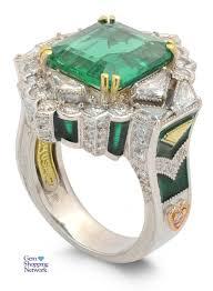 Stambolian Design 4 53 Ct Emerald 1 46 Ctw Diamond 18k 2 Tone 13 40gr Ring