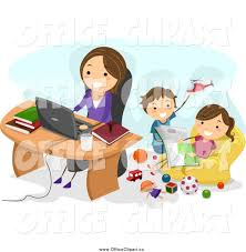 home office multitasking. wonderful office happy caucasian mom working at home as her kids play behind in office multitasking g