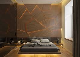 archiplastica designed a bedroom concept that features a unique accent wall made from geometric wood panels
