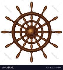 wooden steering wheel vector image