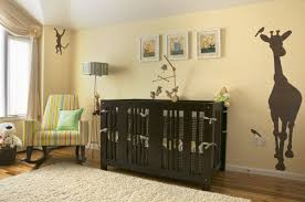 Cozy Beige Nursery Decor With Giraffe Wallpaper Design Black Modern  Laminate Flooring Curtain Wooden Floor Crib
