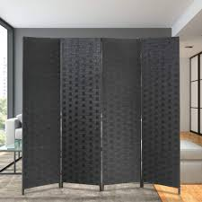 I Wood Design Room Divider 6 Foot Wall Divider Wood Screen 4 Panels Wood Mesh Hand Woven Design Room Screen Divider Indoor Folding Portable Partition Screen Black