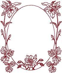 frame design. Redwork Oval Lily Frame Embroidery Design