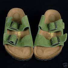 brand new arizona birkenstock slides sandals in a rare color peridot