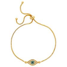 melissa odabash adjule crystal eye chain bracelet gold ev55931