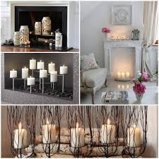 decorative fireplace birch pillar candles lanterns glass collage