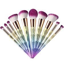 robinson soft colourful unique cone diamond handle design 10pcs pro makeup brushes concealer bb cream powder