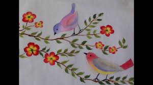Fabric Painting Designs Of Birds Birds And Flowers Fabric Painting Tutorial 14
