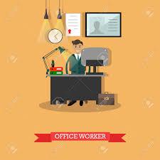 Lavoro Design Illustrazione Vettoriale Di Impiegato Nel Suo Luogo Di Lavoro Design Piatto