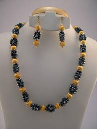 Crystal Beads Necklace Designs In Gold Indian Jewelry White And Black Stone Necklace Sets