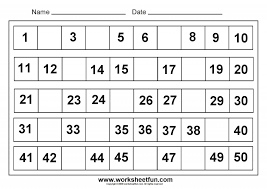 Kindergarten Fill In The Missing The Number, 1 50. | EduCARE ...