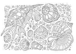 貝殻01 A4無料印刷の大人のぬりえ コロリアージュ 大人の塗り絵